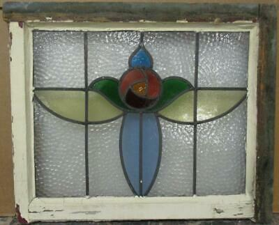 "MIDSIZE OLD ENGLISH LEADED STAINED GLASS WINDOW Mackintosh Rose 22.25"" x 18.25"""