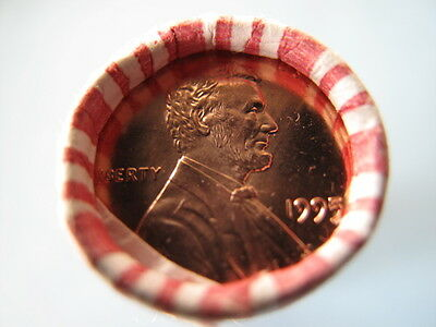 1995- P Obw Brilliant Red Uncirculated Lincoln Cent Roll ***** Look ******