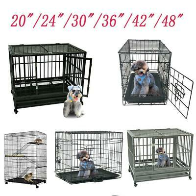"""Small Large 48""""/42""""/36""""/30""""/24""""/20""""Pet Kennel Cat Dog Folding Crate Cage Tray"""