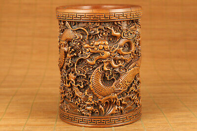Chinese tradition culture hand carved dragon brush pot / vase