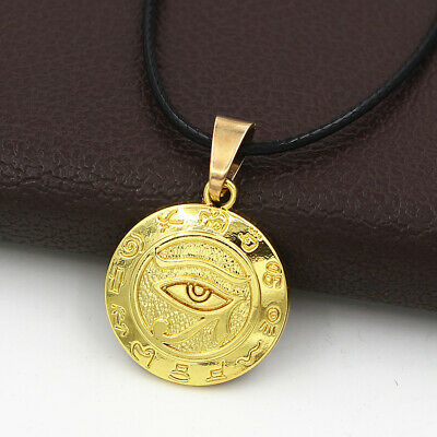 Gold Egyptian Eye of Horus Ra Udjat Amulet Talisman Pendant Choker Necklace