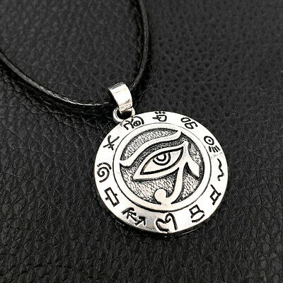Silver Egyptian Eye of Horus Ra Udjat Amulet Talisman Pendant Choker Necklace