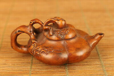 mini unique chinese old boxwood hand carved tea pot home decoration