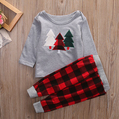 Newborn Baby Boys Hoodie Tops Pants Leggings Outfits Toddler Christmas Clothes