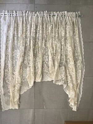 Vintage AS IS Cream Lace Curtain repurpose Craft Fabric
