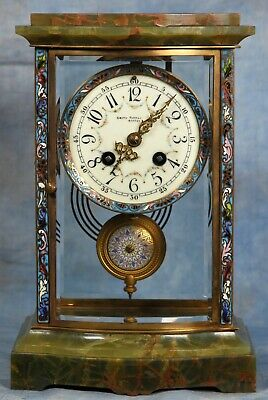 French Cloisonne and Green Onyx Crystal Regulator Clock 19th Century Japy Freres
