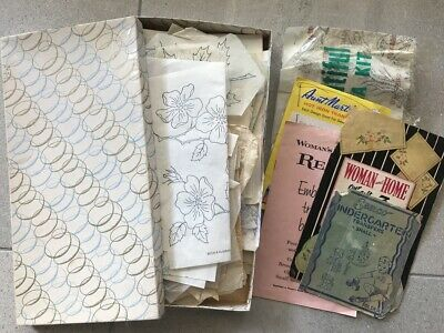 Vintage Embroidery Transfers craft mixed media AS IS Lot