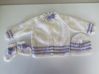 Babies White With Mauve Trim Hand Knitted Jacket, Bonnet And Booties