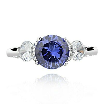 Sterling Silver 2 1/2ct Created Blue Sapphire and Cubic Zirconia 3-Stone Ring
