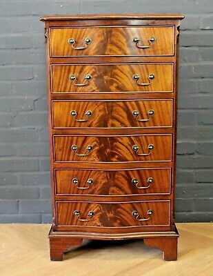 Antique Georgian Regency Style Mahogany Serpentine Chest of Drawers (Six Drawers