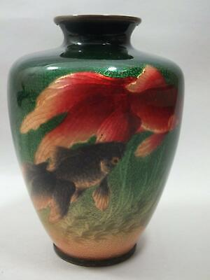 (A)  A Fine Japanese Cloisonne Vase With Fish On A Green Ground