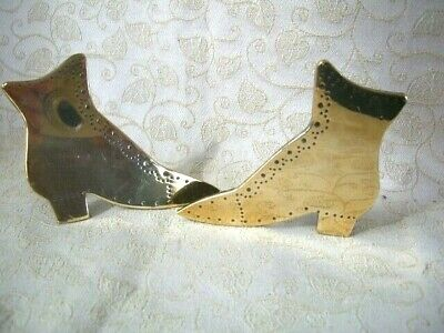Pair Of Antique Old Good Quality Ladies Boot Brass Fireside Mantel Ornaments