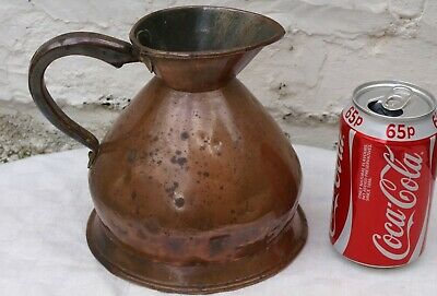 "Antique Farrow & Jackson Well Used Copper Quart Measure Jug With Lead ""Vr"" Mark"