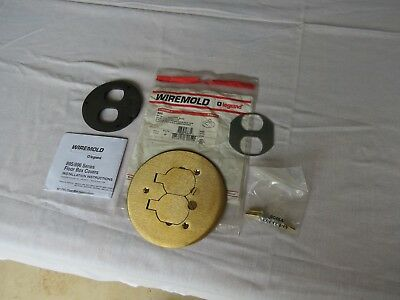 """Wiremold/Legrand #895 Round Brass Receptical 5 1/2"""" Cover Plate With Flip Lids"""