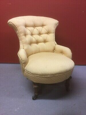 Antique Victorian Small Button Back Chair Sn-612a