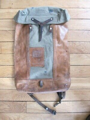 74425c0191 VINTAGE ANCIEN SAC à DOS MILITAIRE SUISSE CUIR leather bag BACKPACK ...