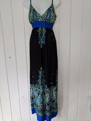 d007ffc63 MULTI-COLOR~PEACOCK FEATHERS~STRETCH KNIT~HALTER Top~MAXI DRESS ...