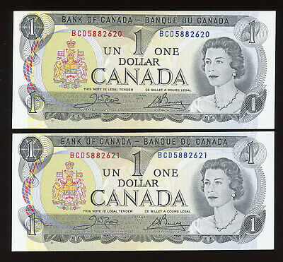 Lot of 2 Consecutive 1973 Bank of Canada $1 Banknotes - Face Value Sale