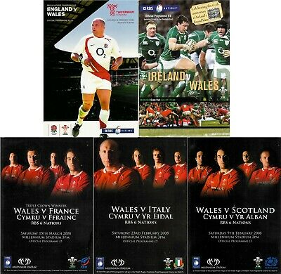 2008 WALES SIX NATIONS GRAND SLAM PROGRAMME SET v ENG SCOT IRELAND ITALY FRANCE