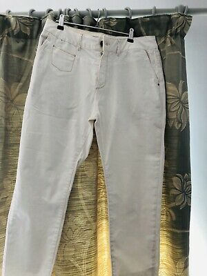 Ladies White ZARA Jeans Size 12 Chinos Denim Cotton