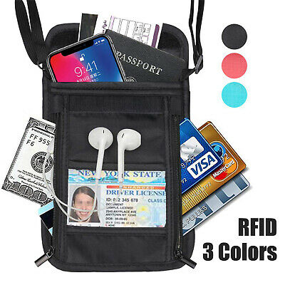 RFID Blocking Neck Stash Pouch Passport Money Card Holder Security Travel Wallet