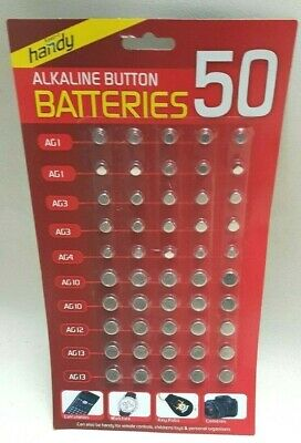BUTTON Batteries Alkaline 50 AG1/4/10/12/13 Cell Coin - Watch Fob Toys Camera