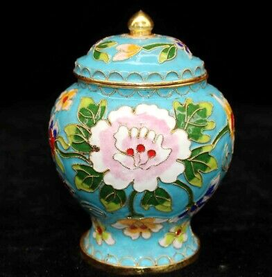 Collect China Antique Cloisonne Hand Carve Blooming Flower Delicate Noble Jar
