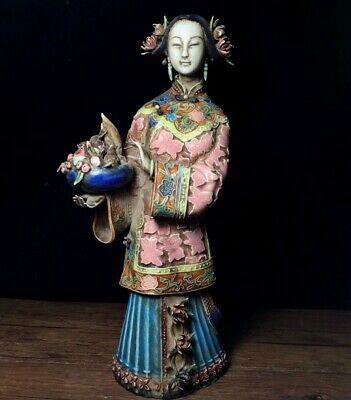 Collectable China Antique Red Porcelain Hand Paint Ancient Belle Vivid Statue