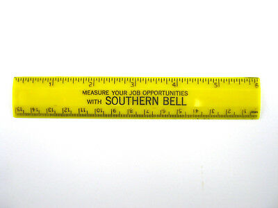 """VINTAGE SOUTHERN BELL TELEPHONE 6"""" RULER Yellow 'Measure Your Job Opportunities'"""