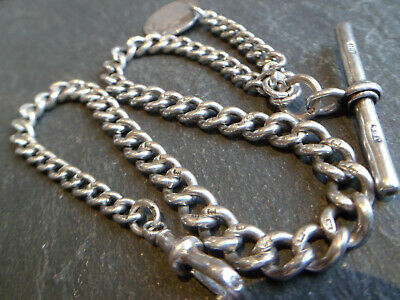 Victorian 1893 Solid Silver Graduated Albert Pocket Watch Chain + Coin Fob