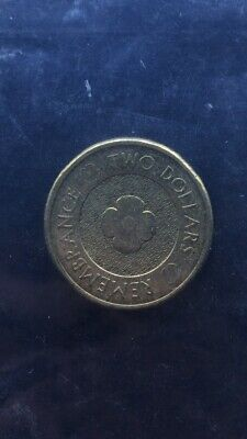 2 dollar Anzac Remembrance Day Coin 2012. Red Poppy Uncolured