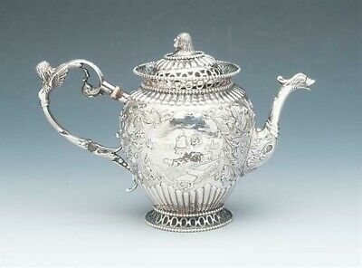 Antique Silver Netherlands small tea pot, with ornate design and Figurals 83.5%