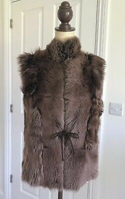 Sheepskin Gilet Shearling Vest Suede Bodywarmer Waistcoat Chocolate Brown M 12