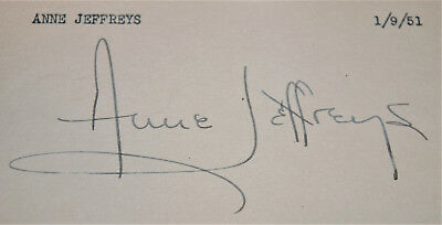 ANNE JEFFREYS original vintage autograph on index card 1951 Dick Tracy Riff Raff