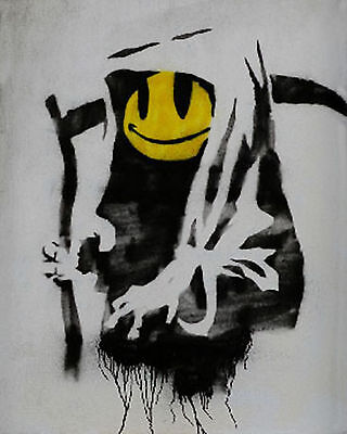 Banksy Grin Reaper Street art on canvas Giclee 16 x 20 Print Venne graffiti