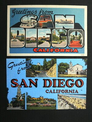 2 Different Old Big / Large Letter Linen Postcards - Greetings from San Diego