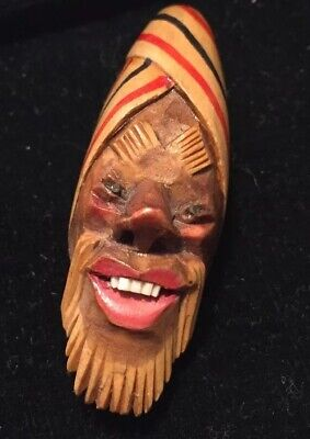 vintage Art Deco jewellery super carved wooden man's face brooch