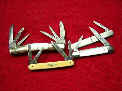 JOSEPH RODGERS Clark Bros LOT of 4 ~ Old Vtg ANTIQUE Pearl CONGRESS Knives