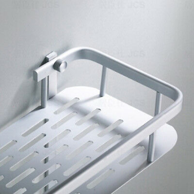 Stainless Steel Kitchen Bathroom Shower Storage Basket Caddy Shelf Suction Cup L