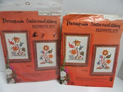 2 Vintage Paragon Crewel Embroidery Kit Jacobean Deer & Squirrel 12x15