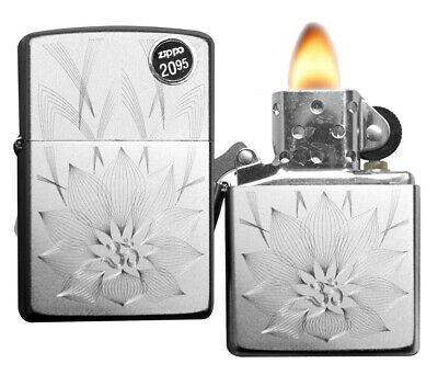 Zippo Lighter 29859 Lotus Ohm Design Satin Chrome Finish Windproof Brand New