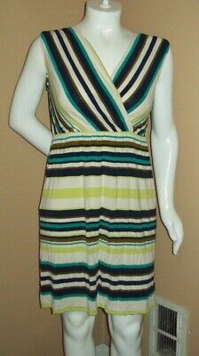 b6ab1b36134f NEW! MERONA OLIVE Green & White Striped Sleeveless Jersey Dress ...