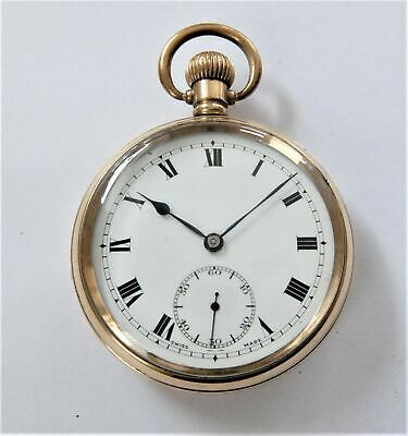 1910 Gold Filled Screw Cased 15 Jewelled Swiss Lever Pocket Watch Working
