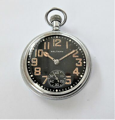 1940'S Waltham Screw Cased Military Swiss Lever Pocket Watch In Working Order