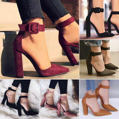 2d52c22b6a Womens Block High Heels Pointed Toe Ankle Strap Buckle Sandals Party Pumps  Shoes