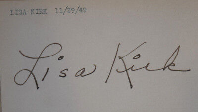LISA KIRK 1950s singer original vintage autograph on index card from 1949 GYPSY