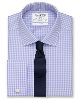 T.M.Lewin Men's Slim Fit Shirt Non-Iron Lilac Gingham Everyday Wear