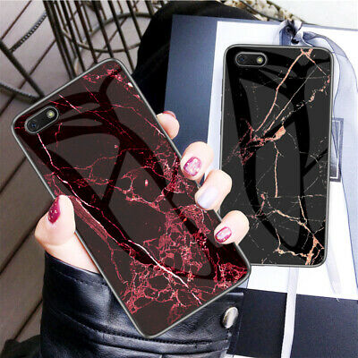Luxury Marble Tempered Glass Hard Case Cover For Huawei Y7 2019/Y6 2019/Y5 2019