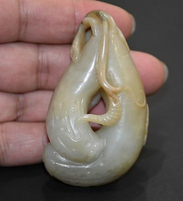 "Finely Chinese Qing Dy Old Nephrite Jade Carved Fruit Pendant ""Gua Jian"" L 6.5"
