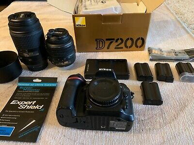 Nikon D7200 Digital SLR Camera 24.2 MP with 55-300mm and 18-55mm 5 BATTERIES